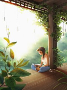 Art Anime Fille, Anime Art Girl, Cartoon Kunst, Cartoon Art, Alone Art, Peace Art, Digital Art Girl, Anime Scenery, Home And Deco