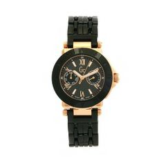 GUESS Women's 45502L1 GC Rose Gold Plated Black Dial Watch GUESS. $919.60. Swiss-Quartz movement. Stainless steel case and bracelet. Scratch-resistant mineral. Black dial. Water-resistant to 330 feet (100 M)