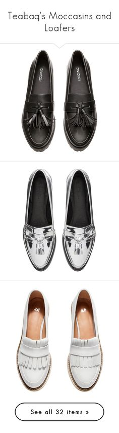 """""""Teabaq's Moccasins and Loafers"""" by teabaq ❤ liked on Polyvore featuring shoes, loafers, flats, flat shoes, h&m, h&m flats, flat pumps, polyurethane shoes, обувь and leather tassel loafers"""