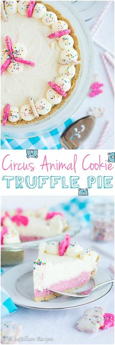 Golden Birthday Cake Oreo crust, sweet Circus Animal Truffle filling, fluffy white chocolate mousse…this no-bake Circus Animal Cookie Truffle Pie just screams childhood dreams! http://abajillianrecipes.com