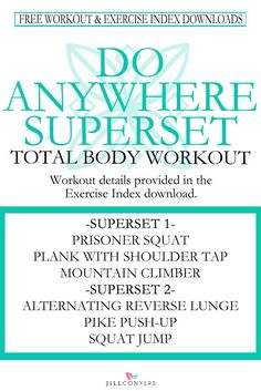 Burn calories and tone your muscles with this total body superset workout. With no equipment needed you can do this workout anywhere. It's…