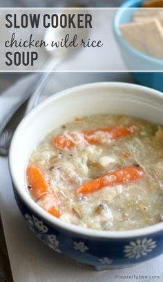 A recipe for chicken wild rice soup made in the slow cooker. Hearty and healthy comfort food.