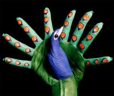 Hand Art is the becoming very popular these days especially for conveying the metaphorical significance of any issue. Hand Art includes everything that you . Misty Copeland, Peacock Painting, Hand Painting Art, Peacock Art, Illusion 3d, Mario, Guache, Pet Rocks, Italian Painters