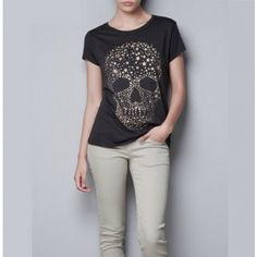Cool Girl Metallic Skeleton Print Black Cotton Top