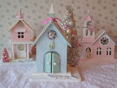 Shabby Cottage House  Christmas Church by IllusiveSwan on Etsy, $50.00
