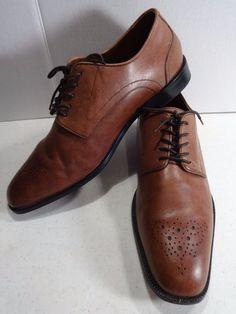 ROCKPORT Mens 10.5M Brown Leather Castleton Lace Up Oxford Brogue Toe Adiprene  #Rockport #Oxfords