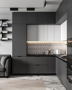 Kitchen decor and decoration idea in modern and so popular style this year! Kitchen Room Design, Luxury Kitchen Design, Kitchen Cabinet Design, Kitchen Sets, Home Decor Kitchen, Interior Design Kitchen, Kitchen Furniture, Home Kitchens, Modern Kitchens