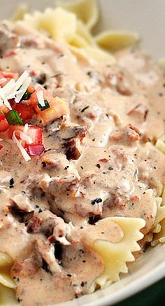 Creamy Tuscan Pasta Sauce with cream cheese, sun dried tomatoes and fresh basil
