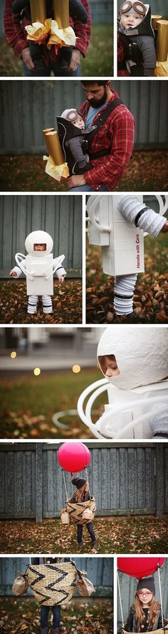 fun ideas for kids costumes - scuba diver costume, astronaut costume and hot air balloon costume