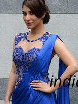 Sophie Choudry Blue Chiffon Bollywood Party Wear Saree 36751 Like this.