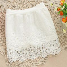 New 2014 Women Vintage Elegant full Crochet Lace Skirt Slim Hook Flower Hollow Elastic High Waist short mini Skirts white black White Skirts, Mini Skirts, High Waisted Shorts, Crochet Lace, Lace Shorts, How To Look Better, Vintage Ladies, Slim, Elegant