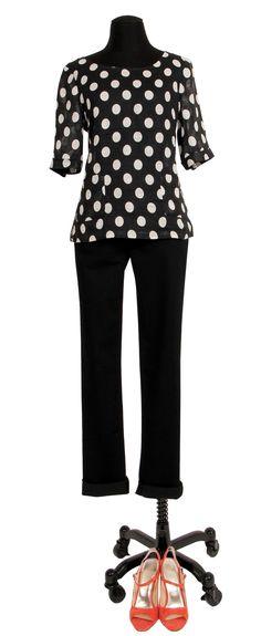 1.2.3 Paris - Top Laury 69€ Pantalon Diane 79€ Chaussures Emy 129€ #noir #blanc #graphique #lin #pois #corail #sandales #123 #mode #printemps
