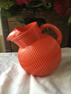 Vintage Hazel Atlas / Red Tilt Ribbed Ball Pitcher / with Ice Lip by SquireCollectibles on Etsy Vintage Kitchenware, 4th Of July Party, Tilt, Red Lips, Pottery, The Incredibles, Retro, Dinnerware, Drinking