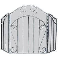 UniFlame 3 Panel Heavy Pewter Screen with Decorative Scroll