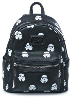 Loungefly Storm Troopers Backpack ...fall into line, soldier! This adorable mini backpack features an all over print of the classikk storm trooper helmet, smooth black 100% vegan leather construction, carrying tab, front pouch pocket, a suuuper roomy interior, top zip closure, and adjustable straps.