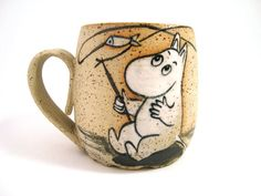 Fishing Moomin. Cute Cup. Ceramic Handmade by KUCHERIASHKA on Etsy