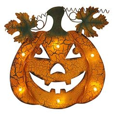 Add a festive touch to your Halloween decor with one of our LED-lighted orange metal hanging Jack O'Lanterns!