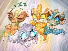 Pandaren Elemental Spirits by Z-N-K.deviantart.com on @DeviantArt