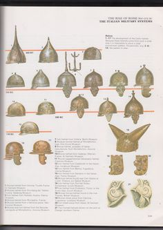"""Helmet types.Two new helmet appeared in I. BC They are related to each other and are usually combined into agenportsky type. Agensky type (17) is reminiscent of bowler hat with fields, while portskogo type with the same """"pot"""" there is a fairly large nazatylnik which is riveted to the helmet (16). Both were wearing helmets naschechniki new type - that was later borrowed by the Romans. Portsky type was a direct prototype Imperial Gallic helmet I in. BC Samples of such helmets"""
