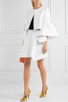 White linen Concealed hook and zip fastening at side 100% linen; lining: 100% cotton Dry clean Imported