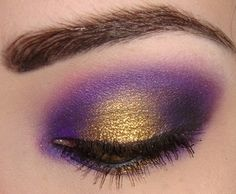 Gold and purple shimmery eye makeup