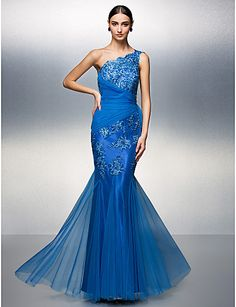 Trumpet/Mermaid One Shoulder Floor-length Tulle Evening Dress