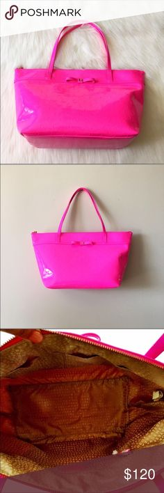"""FINAL PRICEKate Spade Hot Pink Patent Tote NWT. Kate Spade hot pink patent tote. 17.5""""Lx6""""Wx10""""H. Two inside pockets, inside zipper pocket. The perfect color for summer! kate spade Bags Totes"""