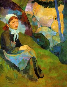 'Solitude, Breton girl in a Huelgoat Landscape' by Paul Serusier (a friend of Paul Gauguin) Paul Gauguin, Edouard Vuillard, Georges Seurat, Pierre Bonnard, Impressionist Artists, French Art, Anime Comics, Solitude, Oil On Canvas