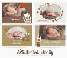 Illustrated Baby WHCC Cards templates for photographers Baby Album, Cool Baby Stuff, Bassinet, Photographers, Templates, Boutique, Illustration, Cards, Design