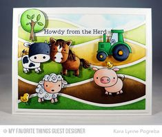 Farm Friends Stamp Set, Horizontal Snow Drifts Cover-Up Die-namics, Stitched Cloud Edges Die-namics - Kara Lynne Pogreba #mftstamps