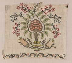 Coarse but sheer linen twill ground, embroidered with polychrome silks and gold yarn in double running and satin stitches. Pattern shows a flower … Aari Embroidery, Hand Embroidery Tutorial, White Embroidery, Vintage Embroidery, Embroidery Stitches, Embroidery Patterns, Vintage Lace, Textile Tapestry, Embroidered Towels