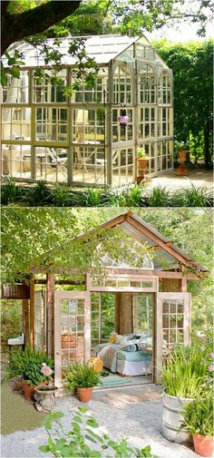 12 amazing DIY sheds and greenhouses: how to create beautiful backyard offices, studios and garden rooms with reclaimed windows and other materials. garden shed diy 12 Most Beautiful DIY Shed Ideas with Reclaimed Windows Diy Storage Shed, Diy Shed, Wood Storage, Outdoor Storage, Small Storage, Garden Deco, Diy Garden, Reclaimed Windows, Wooden Greenhouses