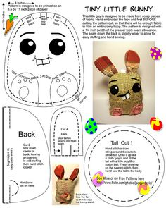 Free bunny pattern to embroider and sew Easter Crafts, Felt Crafts, Fabric Crafts, Sewing Crafts, Sewing Projects, Softies, Plushies, Fabric Toys, Felt Fabric