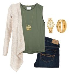 """""""Army green for the veterans:)"""" by lucycavv ❤ liked on Polyvore featuring Abercrombie & Fitch, Michael Kors, Tory Burch and fallingwithlucy"""