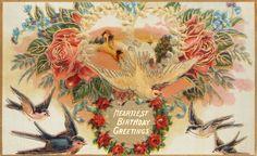 Vintage Victorian Heartiest Birthday Greetings Card from vintagefangirl.com