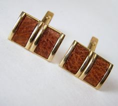 Swank Men's Cufflinks Brown Leather Inset Gold by GretelsTreasures