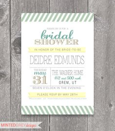 Printable Mint Green, Gold & Yellow Bridal Shower Invitation. $10.00, via Etsy.