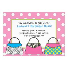 Pink and White Polka Dot Purse Handbag Invitations with damask, zebra and polka dot purses ... fun for any girly party including bachelorette parties, bridal showers, girls' night out, fashion exchange parties, etc. www.gem-ann.com (Zazzle store)
