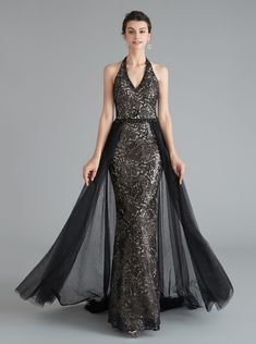 Black Sheath Evening Dress with Tulle Overskirt,Halter Prom Dresses,Fitted Homecoming Dress Long Halter Prom Dresses Long, Stunning Prom Dresses, Dresses Elegant, Black Prom Dresses, Tulle Prom Dress, Mermaid Prom Dresses, Lace Dress, Evening Dresses, Dress Long