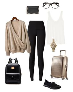 """Airplane outfit YYC to YYZ"" by calgarysarah on Polyvore featuring Hartmann, lululemon, The Row, Chicnova Fashion, Skechers, Shinola, Valentino and Ace"
