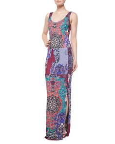 Rehearsal Dinner Sleeveless Scoop-Neck Printed Maxi Dress, Multi Colors by Nicole Miller Artelier at Neiman Marcus.