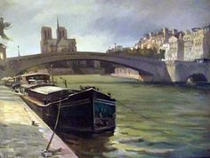 La Seine Early Evening, Oil on Canvas,  30 x 40 inches