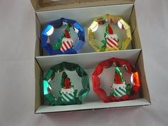 Vtg XMAS Jewelbrite Diorama Hard Plastic Tree Ornaments Box Set 4 Mid Century