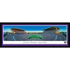 Washington Huskies Football - End Zone View at Husky Stadium - Blakeway Panoramas Ncaa College Print with Select Frame and Single Mat