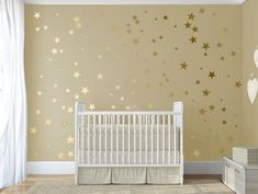 100 Gold Metallic Stars Nursery Wall Decals/Wall by QuoteMyWall