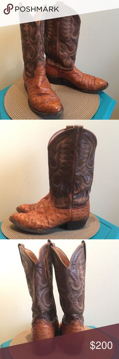 Tony Lama El Rey Ostrich Full Quill Leather boots Vintage Tony Lama El Rey 8134 Tobacco/Brown Ostrich Full Quill Leather Men's Cowboy boots Size 9.5 Preowned with a few small tears not noticeable but overall great condition Tony Lama Shoes Cowboy & Western Boots