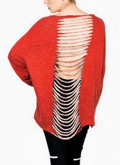 """""""delta"""" red slashed back sweatshirt"""