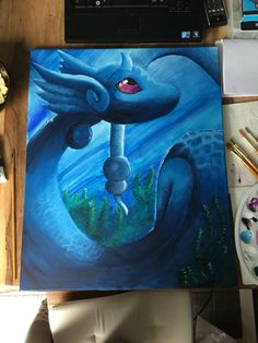 Dragonair -Pokemon canvas painting Luna: Amazing, but I DIDN'T SAVE THIS! Pinterest really needs an update that fixes that annoying glitch.