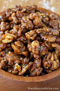 Candied Balsamic Rosemary Walnuts. good quality balsamic vinegar at: www.autumnharvestoil.com