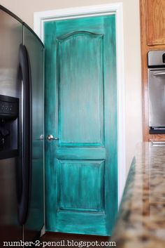 Turquoise paint glazed door